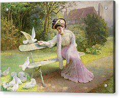Feeding The Doves  Acrylic Print by Edmond Alphonse Defonte