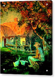 Feeding The Ducks,1985 Acrylic Print