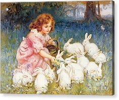Feeding The Rabbits Acrylic Print by Frederick Morgan
