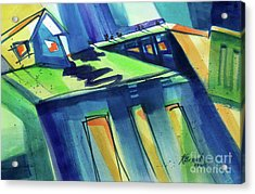 Acrylic Print featuring the painting Feedmill In Blue And Green by Kathy Braud