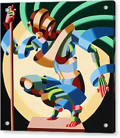 Felicia 1424 - Abstract Futurism Oil Painting Acrylic Print by Mark Webster