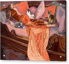 Feline Fashion Harem Acrylic Print by Barbara Tyler Ahlfield