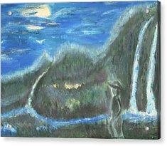 Feline Water Falls Acrylic Print by BJ Abrams