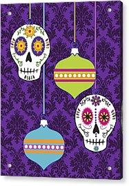 Feliz Navidad Holiday Sugar Skulls Acrylic Print by Tammy Wetzel