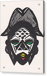 Female Ancestral Mask Of The Mpongue Of The Congo Acrylic Print by Mia Alexander