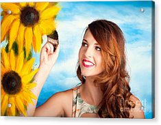Female Artist Drawing Sun Flowers During Summer Acrylic Print by Jorgo Photography - Wall Art Gallery