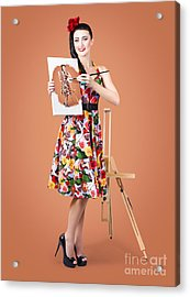 Female Artist Paints Self Portrait With Oil Paint Acrylic Print by Jorgo Photography - Wall Art Gallery