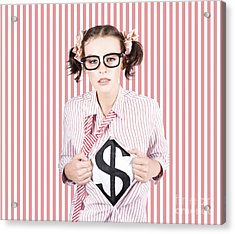Female Business Superhero Showing Dollar Sign Acrylic Print