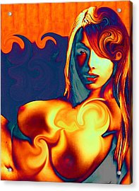 Female Contemporary Nude On A Wave Acrylic Print
