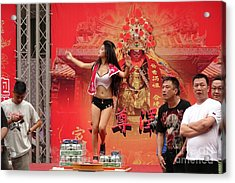 Acrylic Print featuring the photograph Female Dancer At A Temple Ceremony by Yali Shi