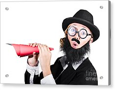 Female Dressed As A Man Holding Paper Megaphone Acrylic Print by Jorgo Photography - Wall Art Gallery