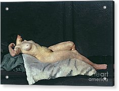 Female Figure Lying On Her Back Acrylic Print by Dora Carrington