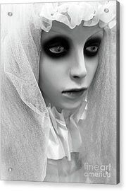 Female Ghost Halloween Print -  Dearly Departed Ghostly Female Soul - My Beloved Acrylic Print by Kathy Fornal