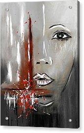 Female Half Face On Grey Abstract Acrylic Print