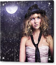 Female Moon Light Night Performer Acting In Rain Acrylic Print