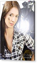 Female Motorcyclist Acrylic Print by Jorgo Photography - Wall Art Gallery