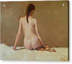 Female Nude   Back View      Acrylic Print by David Olander