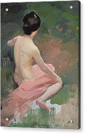 Female Nude Acrylic Print by Jules Ernest Renoux