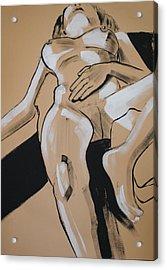 Female Nude Reclining Acrylic Print by Joanne Claxton