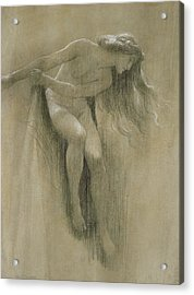 Female Nude Study  Acrylic Print by John Robert Dicksee