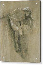 Female Nude Study  Acrylic Print by John Robert Dicksee