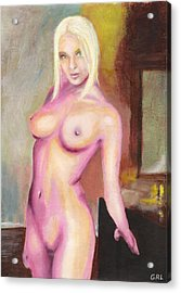 Female Nude Taxha Standing Original Multimedia Acrylic Oil Painting Acrylic Print by G Linsenmayer