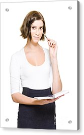 Female Pa Penning Down Work Schedule In Diary Acrylic Print by Jorgo Photography - Wall Art Gallery