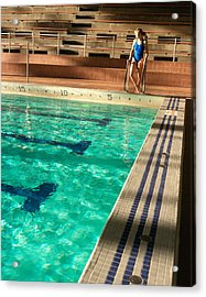 Female Swimmer At Poolside Acrylic Print by Utah Images