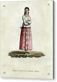 Acrylic Print featuring the drawing Femme De L Ile Guam Josephe Cortez by Jacques Arago