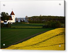 Femoe Fields And Church Acrylic Print by Eric Nielsen