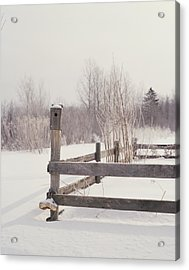 Fence And Birdhouse In The Snow Acrylic Print by Gillham Studios
