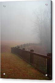 Fence And Fog Acrylic Print by Beebe  Barksdale-Bruner