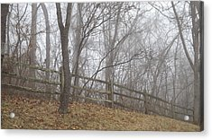 Fence And Fog Acrylic Print