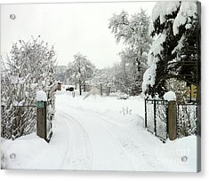 Acrylic Print featuring the photograph Fence And  Gate In Winter by Wilhelm Hufnagl