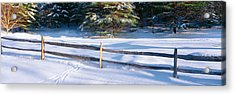 Fence And Snow In Winter, Vermont Acrylic Print by Panoramic Images