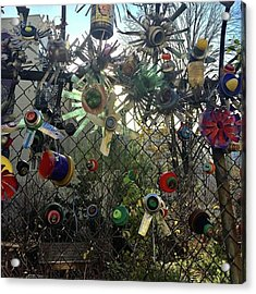 Fence Decorations Surrounding A Acrylic Print by Gina Callaghan