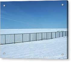 Fence In Snow Acrylic Print