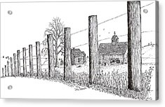 Acrylic Print featuring the drawing Fence Line 1 by Jack G  Brauer