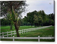 Fence On The Wooded Green Acrylic Print