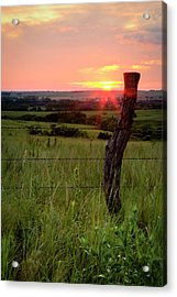Acrylic Print featuring the photograph Fence Post At Sunset by Scott Bean