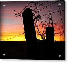 Fence Sunrise Acrylic Print by Kathy M Krause