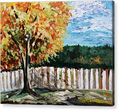 Acrylic Print featuring the painting Fence Under The Maple by Mary Carol Williams