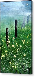 Fence With A Ghost House Acrylic Print by Robert Thomaston