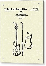 Fender Bass Guitar 1960 Patent Art Acrylic Print by Prior Art Design