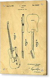 Fender Guitar Patent Acrylic Print by Edward Fielding