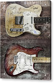 Fender Guitars Fantasy Acrylic Print by Mal Bray