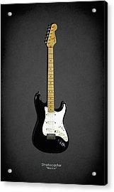 Fender Stratocaster Blackie 77 Acrylic Print by Mark Rogan