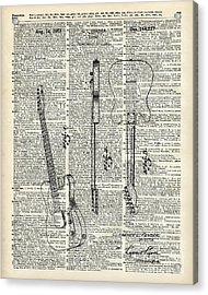 Fender Telecaster Guitar Over Dictionary Page Acrylic Print