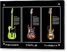 Acrylic Print featuring the photograph Fender Triple Threat by Peter Chilelli