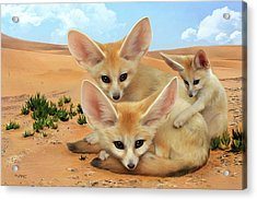 Acrylic Print featuring the digital art Fennec Foxes by Thanh Thuy Nguyen